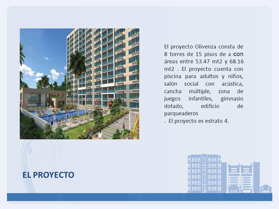 El proyecto Olivenza consta de 8 torres de 15 pisos de a con áreas entre 53.47 mt2 y 68.16 mt2 . El proyecto cuenta con piscina para adultos y niños, salón social con acústica, cancha múltiple, zona de juegos infantiles, gimnasio dotado, edificio de parqueaderos
