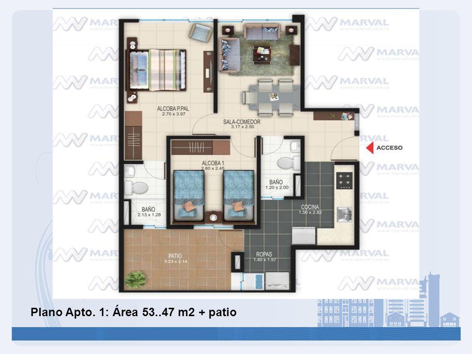 Plano Apto. 1: Área 53..47 m2 + patio