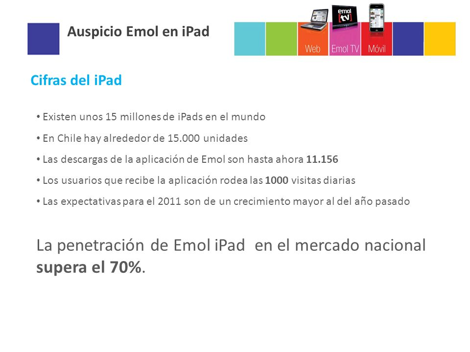 La penetración de Emol iPad en el mercado nacional supera el 70%.