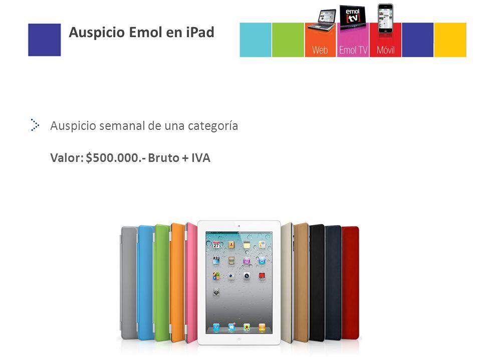 Auspicio Emol en iPad Auspicio semanal de una categoría