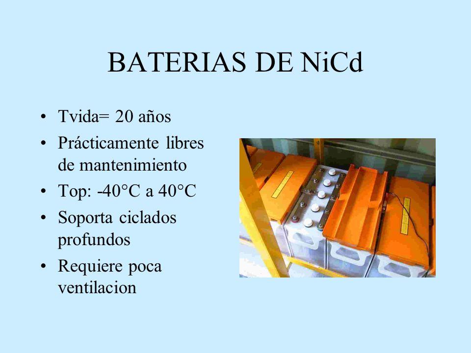 BATERIAS DE NiCd Tvida= 20 años Prácticamente libres de mantenimiento