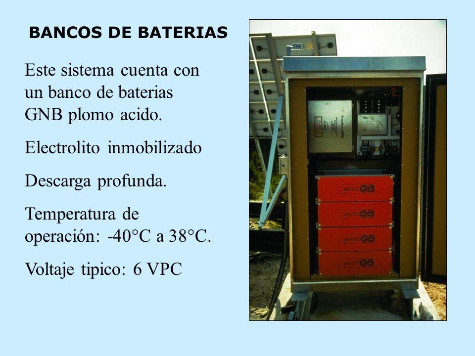 Este sistema cuenta con un banco de baterias GNB plomo acido.