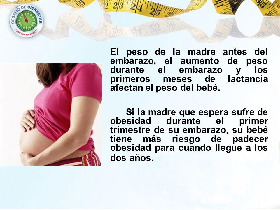 El peso de la madre antes del embarazo, el aumento de peso durante el embarazo y los primeros meses de lactancia afectan el peso del bebé.