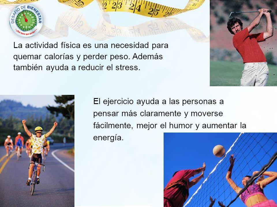 La actividad física es una necesidad para quemar calorías y perder peso. Además también ayuda a reducir el stress.