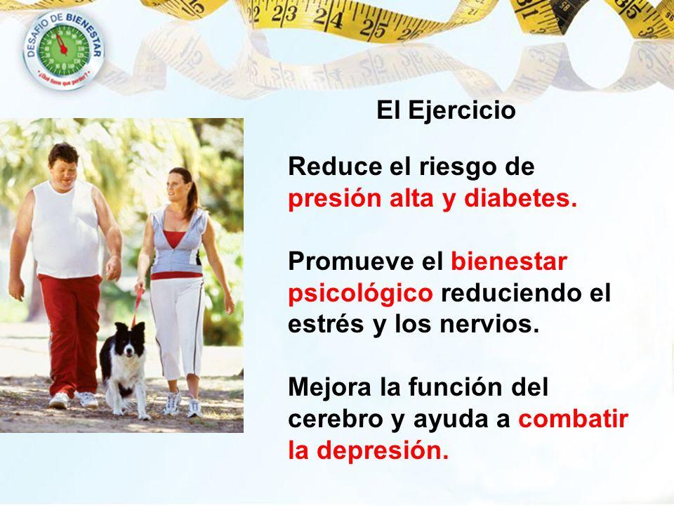 El Ejercicio Reduce el riesgo de presión alta y diabetes. Promueve el bienestar psicológico reduciendo el estrés y los nervios.