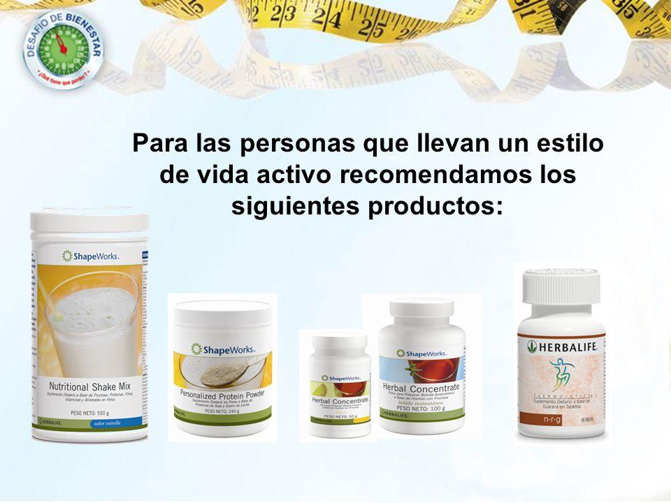 Para las personas que llevan un estilo de vida activo recomendamos los siguientes productos: