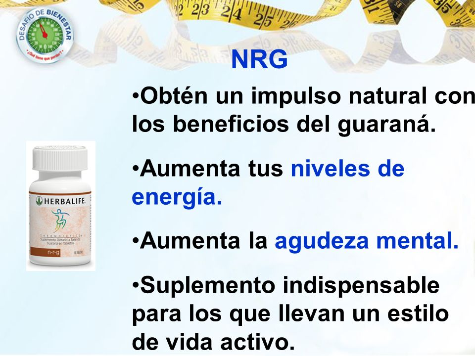 NRG Obtén un impulso natural con los beneficios del guaraná.