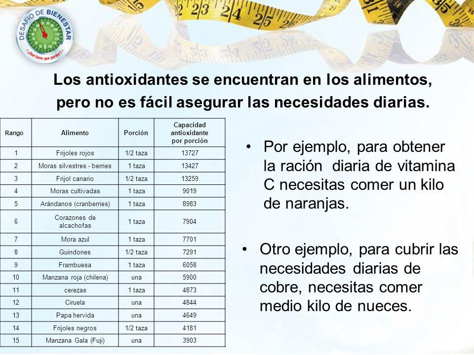 Los antioxidantes se encuentran en los alimentos,