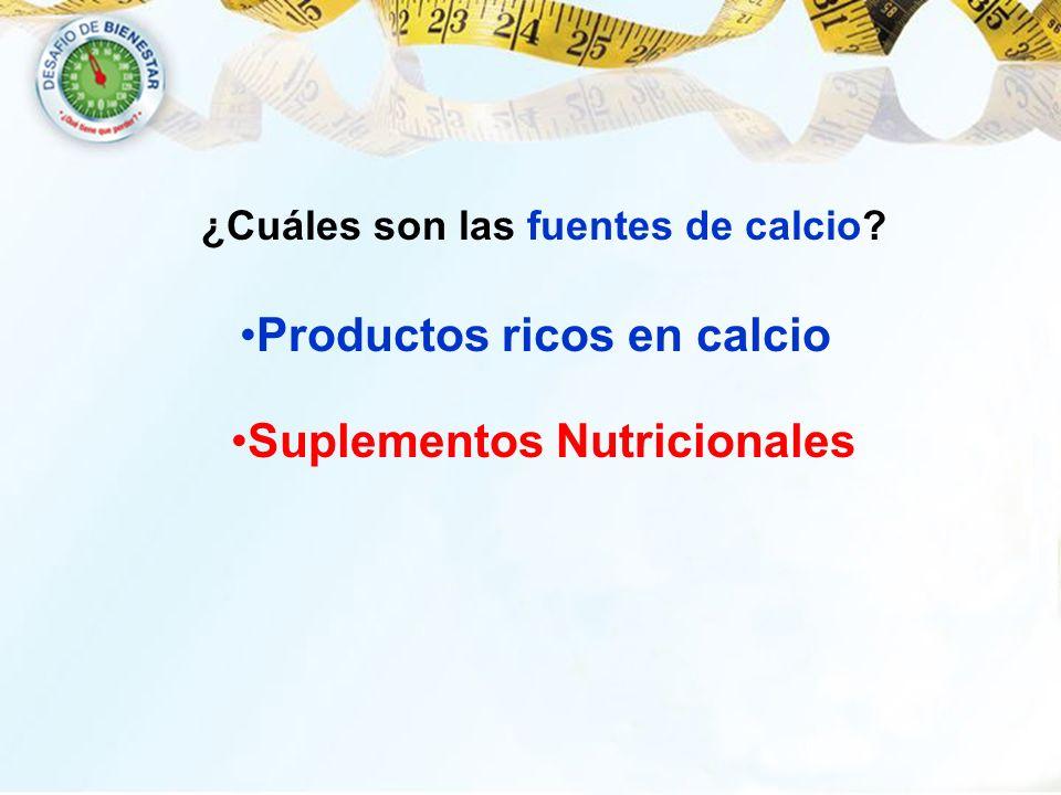 Productos ricos en calcio Suplementos Nutricionales