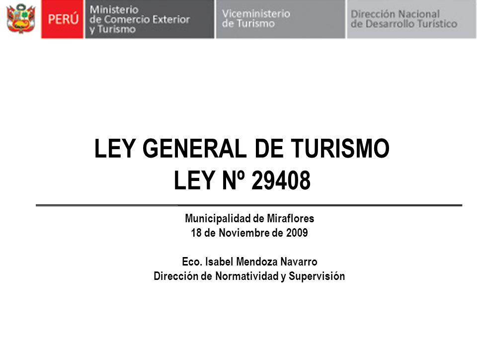 LEY GENERAL DE TURISMO LEY Nº 29408