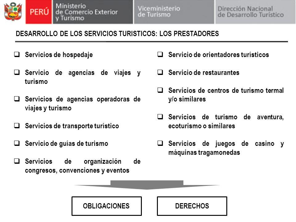 DESARROLLO DE LOS SERVICIOS TURISTICOS: LOS PRESTADORES