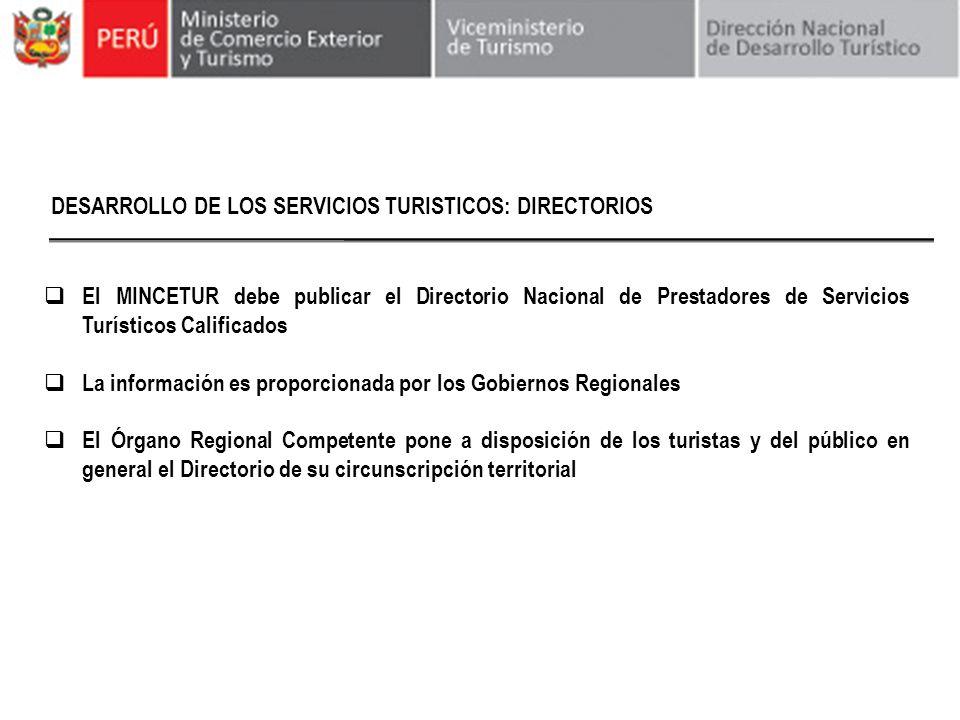DESARROLLO DE LOS SERVICIOS TURISTICOS: DIRECTORIOS
