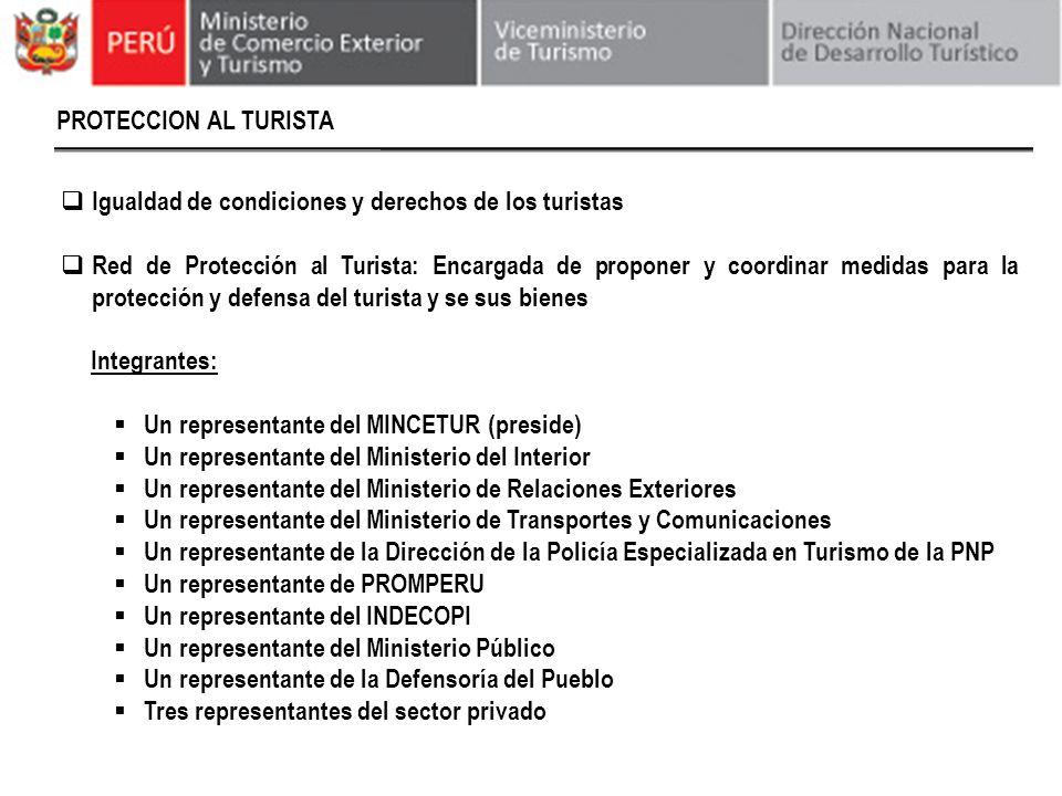 PROTECCION AL TURISTA Igualdad de condiciones y derechos de los turistas.