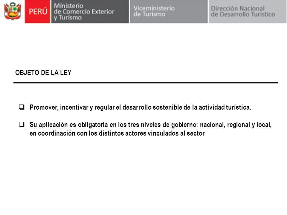 OBJETO DE LA LEYPromover, incentivar y regular el desarrollo sostenible de la actividad turística.
