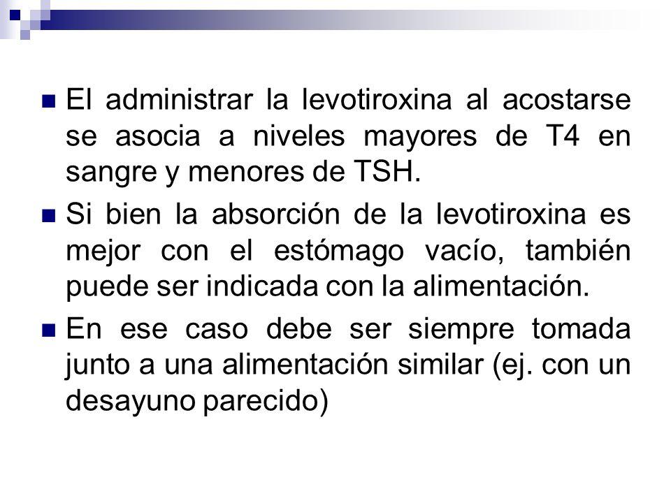 El administrar la levotiroxina al acostarse se asocia a niveles mayores de T4 en sangre y menores de TSH.