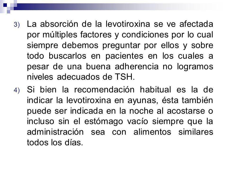 La absorción de la levotiroxina se ve afectada por múltiples factores y condiciones por lo cual siempre debemos preguntar por ellos y sobre todo buscarlos en pacientes en los cuales a pesar de una buena adherencia no logramos niveles adecuados de TSH.