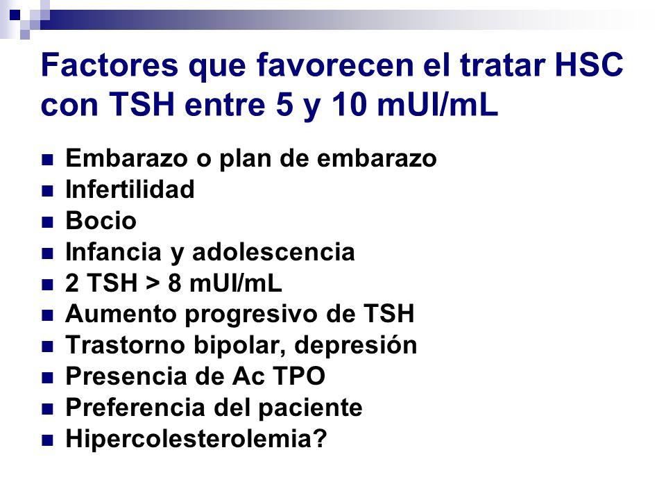 Factores que favorecen el tratar HSC con TSH entre 5 y 10 mUI/mL
