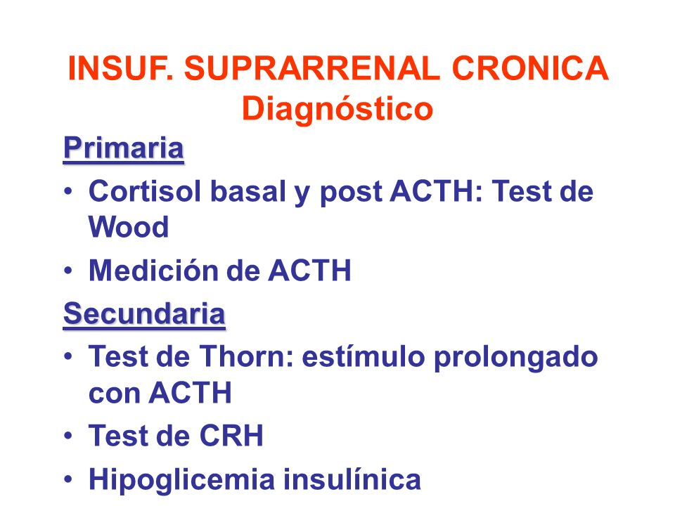 INSUF. SUPRARRENAL CRONICA Diagnóstico