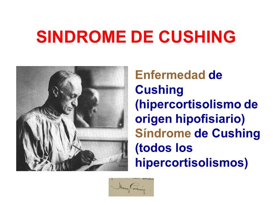 SINDROME DE CUSHINGEnfermedad de Cushing (hipercortisolismo de origen hipofisiario) Síndrome de Cushing (todos los hipercortisolismos)