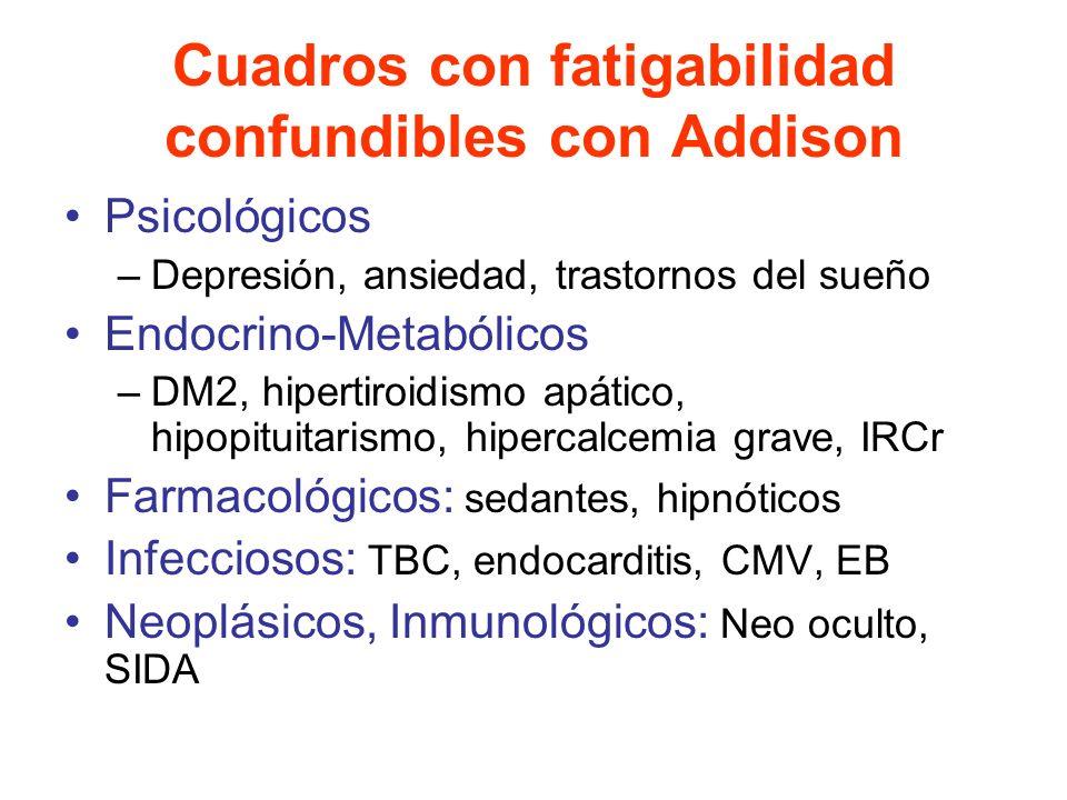 Cuadros con fatigabilidad confundibles con Addison