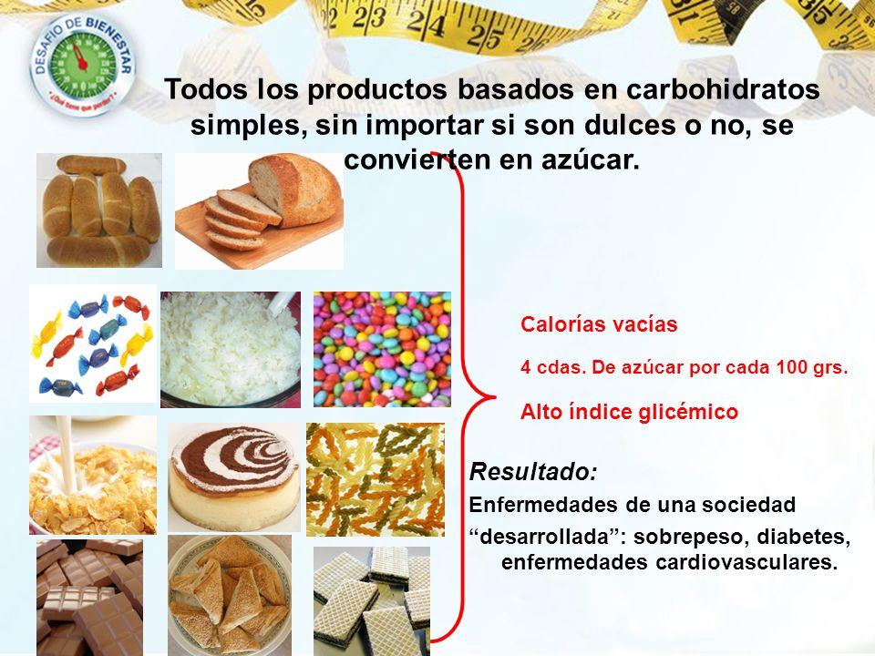Todos los productos basados en carbohidratos simples, sin importar si son dulces o no, se convierten en azúcar.