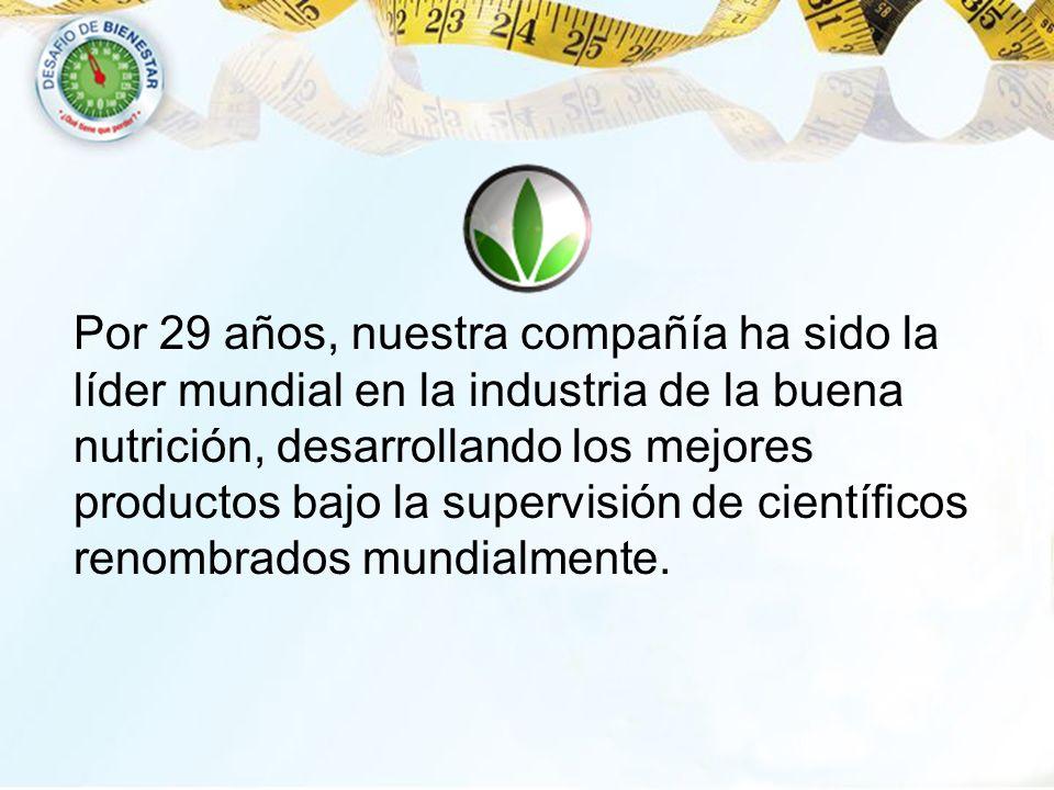 Por 29 años, nuestra compañía ha sido la líder mundial en la industria de la buena nutrición, desarrollando los mejores productos bajo la supervisión de científicos renombrados mundialmente.