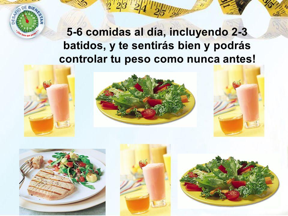 5-6 comidas al día, incluyendo 2-3 batidos, y te sentirás bien y podrás controlar tu peso como nunca antes!