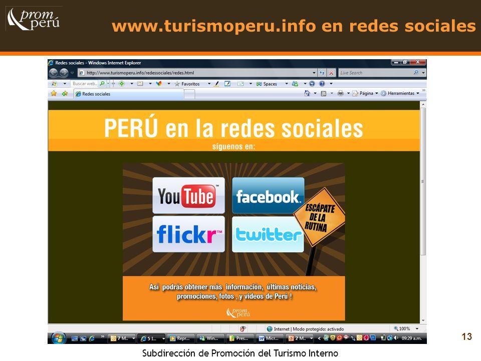 www.turismoperu.info en redes sociales