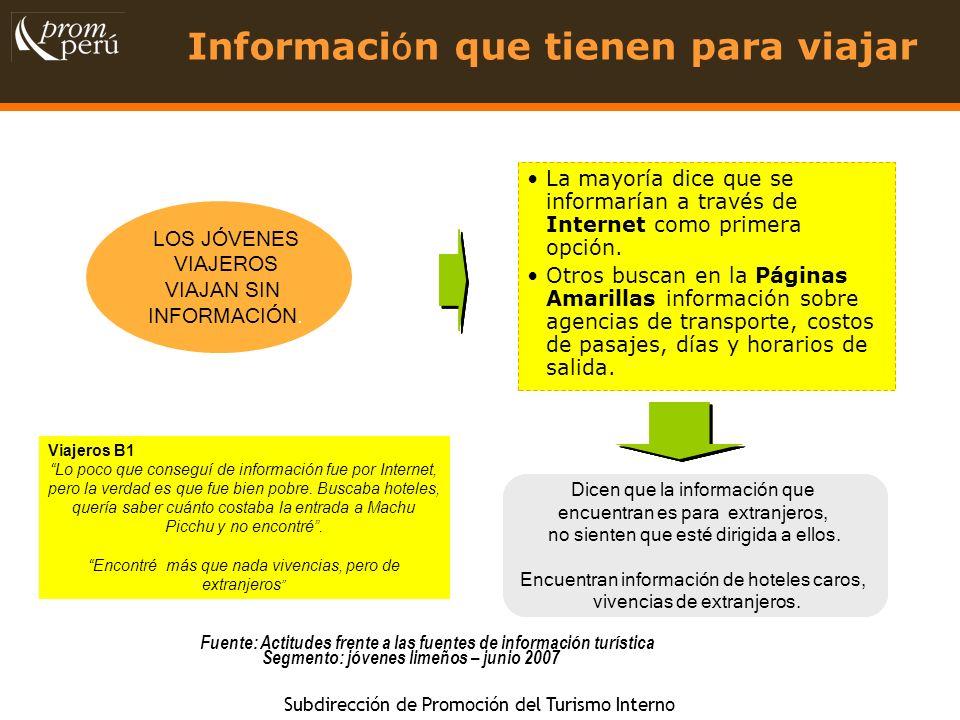 Información que tienen para viajar