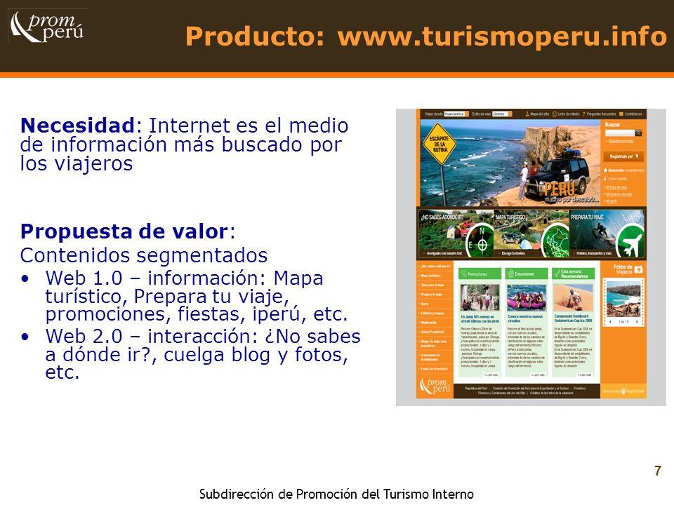 Producto: www.turismoperu.info