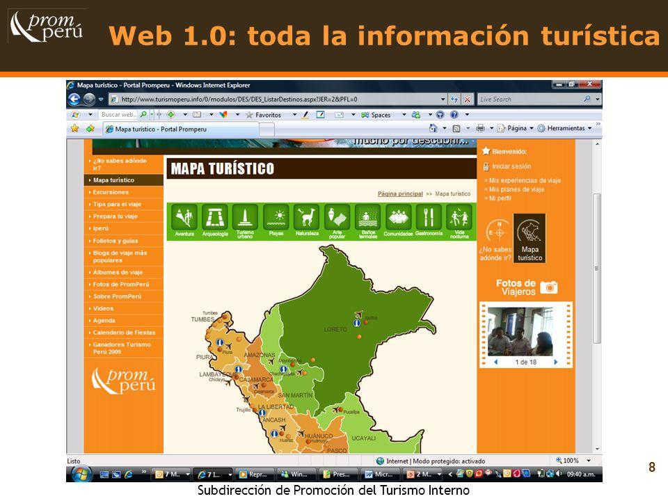 Web 1.0: toda la información turística