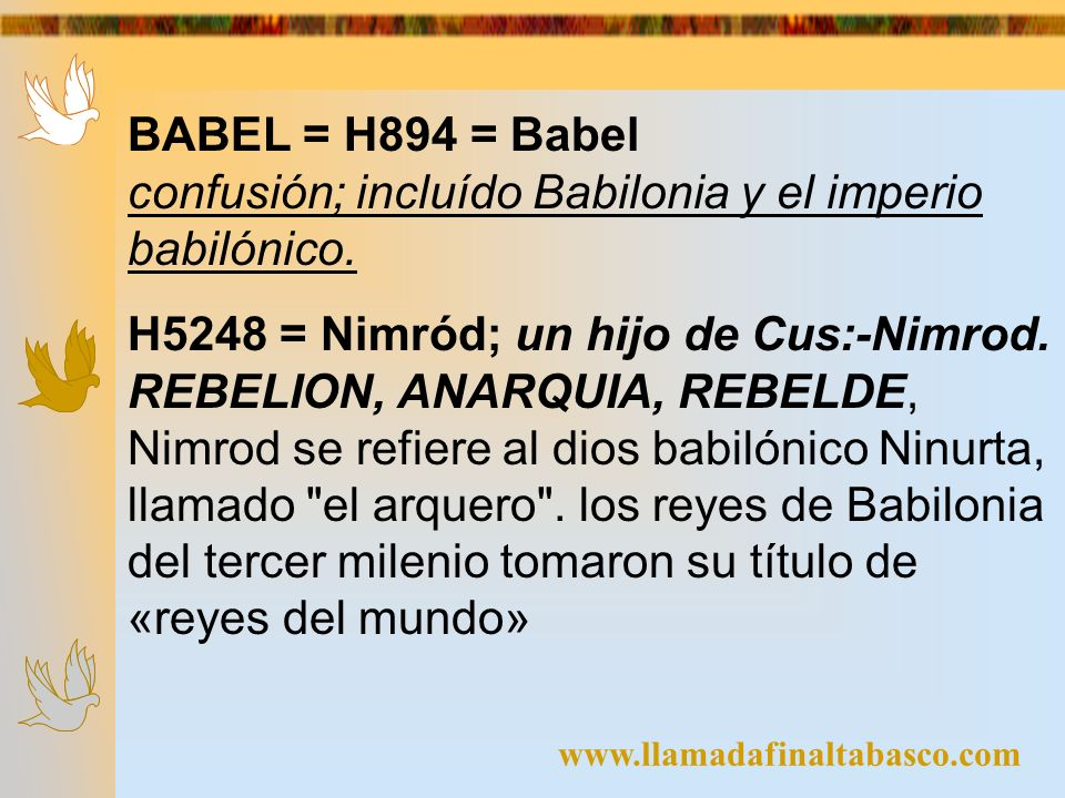 confusión; incluído Babilonia y el imperio babilónico.