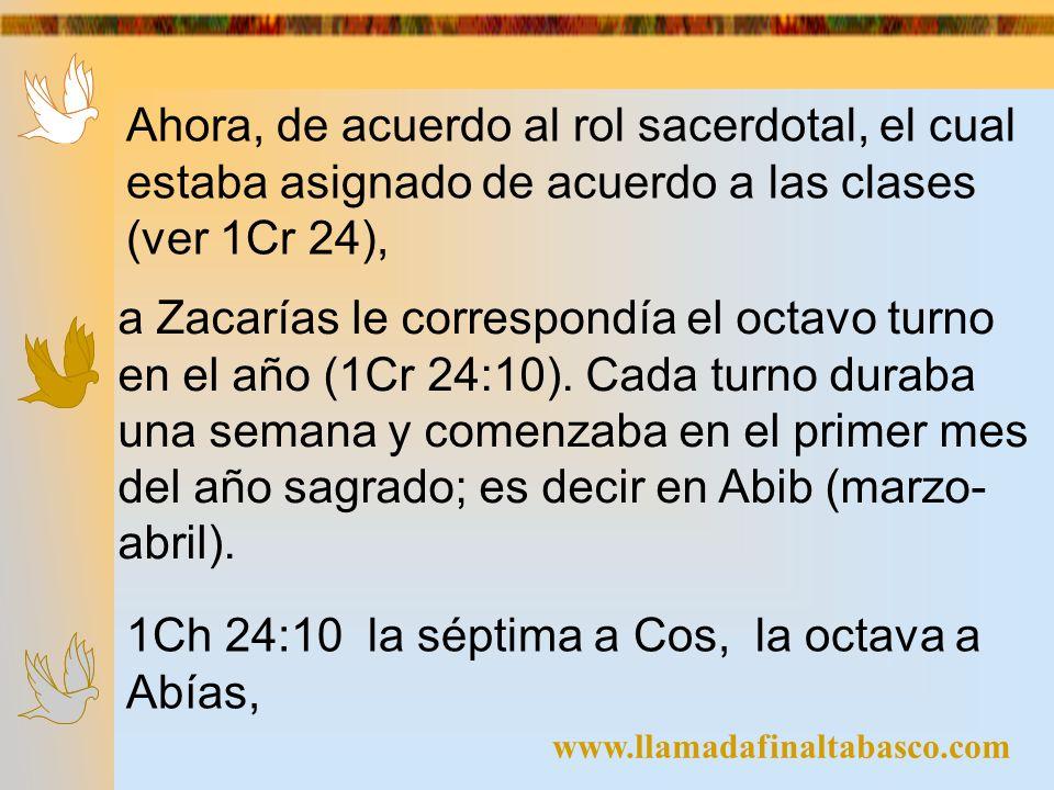 1Ch 24:10 la séptima a Cos, la octava a Abías,