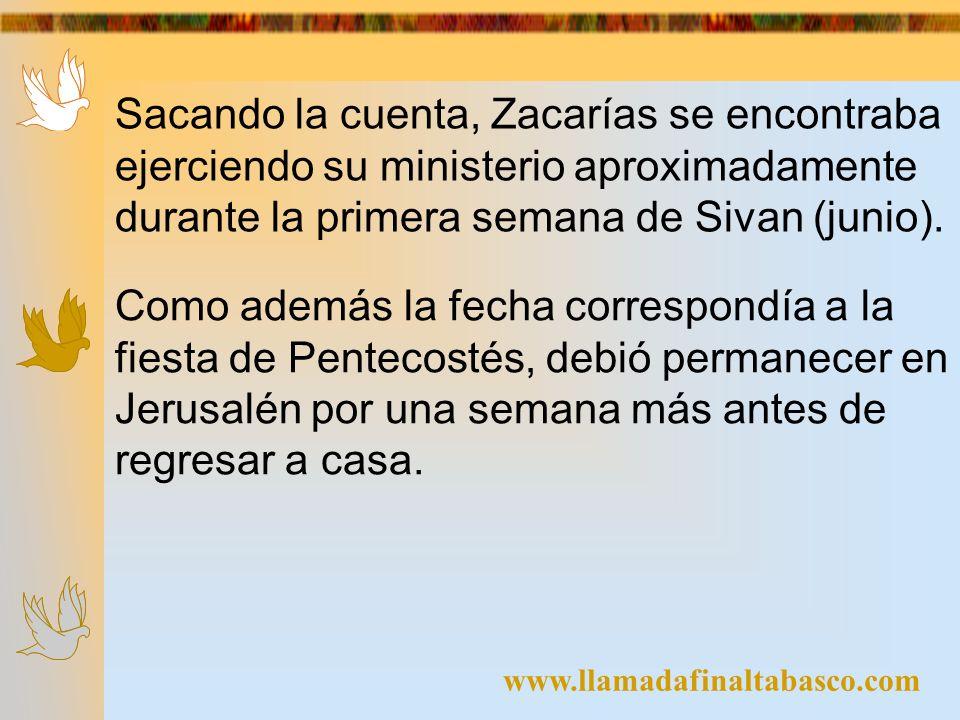 Sacando la cuenta, Zacarías se encontraba ejerciendo su ministerio aproximadamente durante la primera semana de Sivan (junio).
