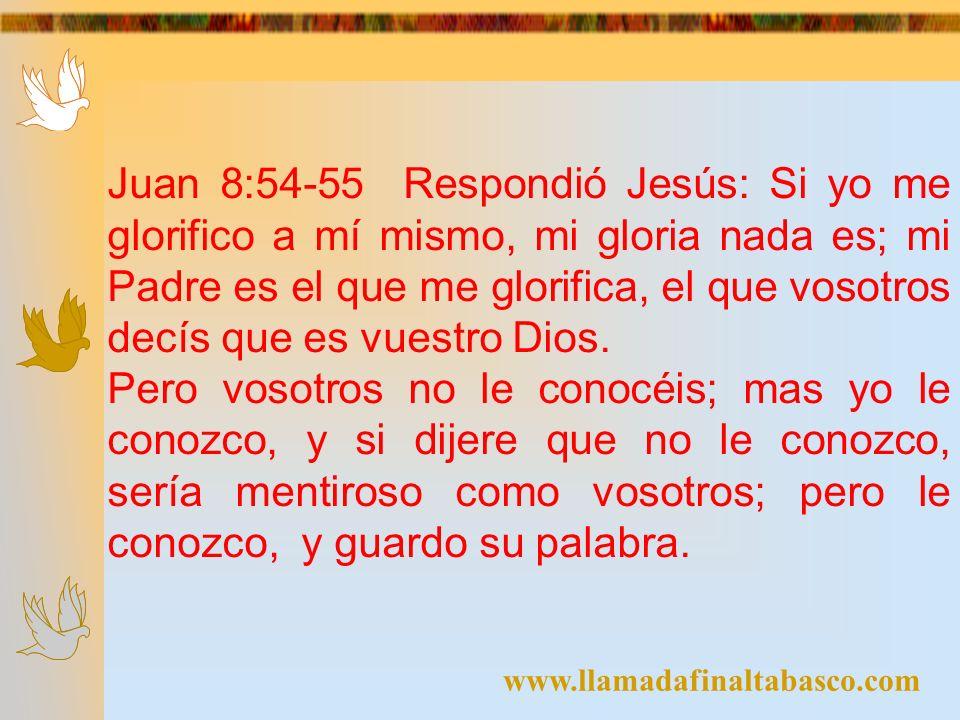 Juan 8:54-55 Respondió Jesús: Si yo me glorifico a mí mismo, mi gloria nada es; mi Padre es el que me glorifica, el que vosotros decís que es vuestro Dios.