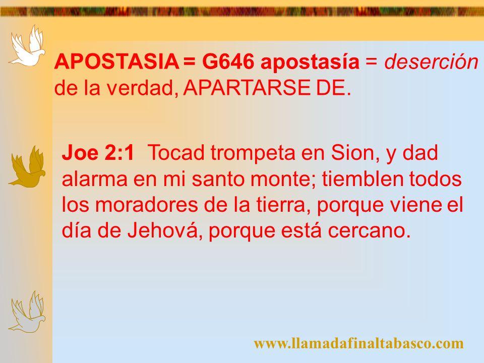 APOSTASIA = G646 apostasía = deserción de la verdad, APARTARSE DE.