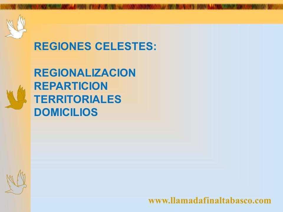 REGIONES CELESTES: REGIONALIZACION REPARTICION TERRITORIALES