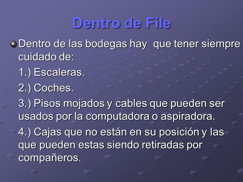 Dentro de File Dentro de las bodegas hay que tener siempre cuidado de: