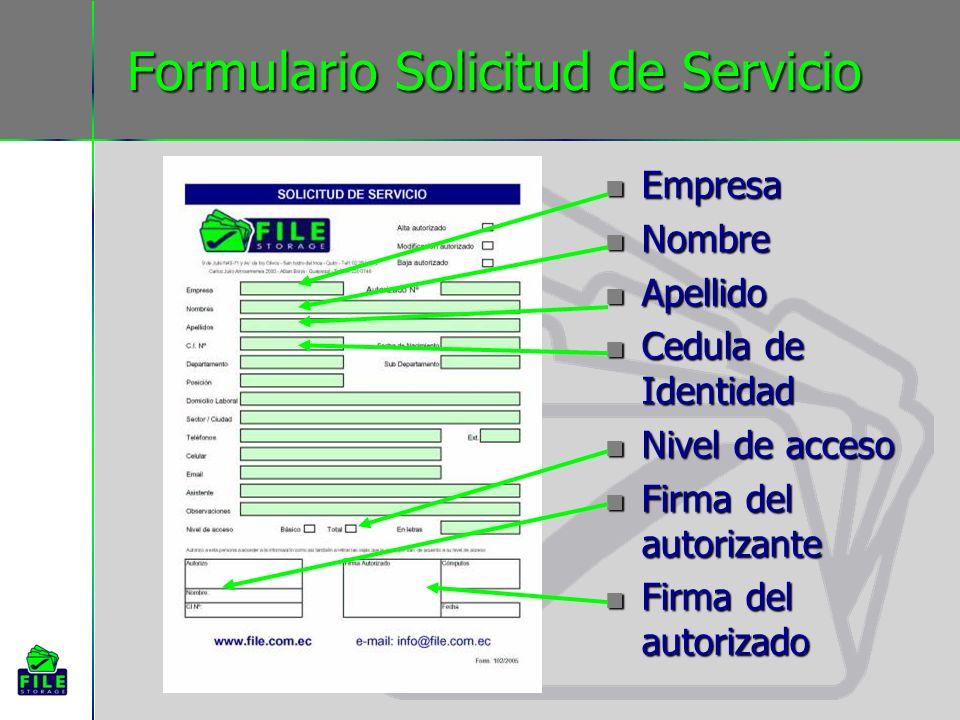 Formulario Solicitud de Servicio