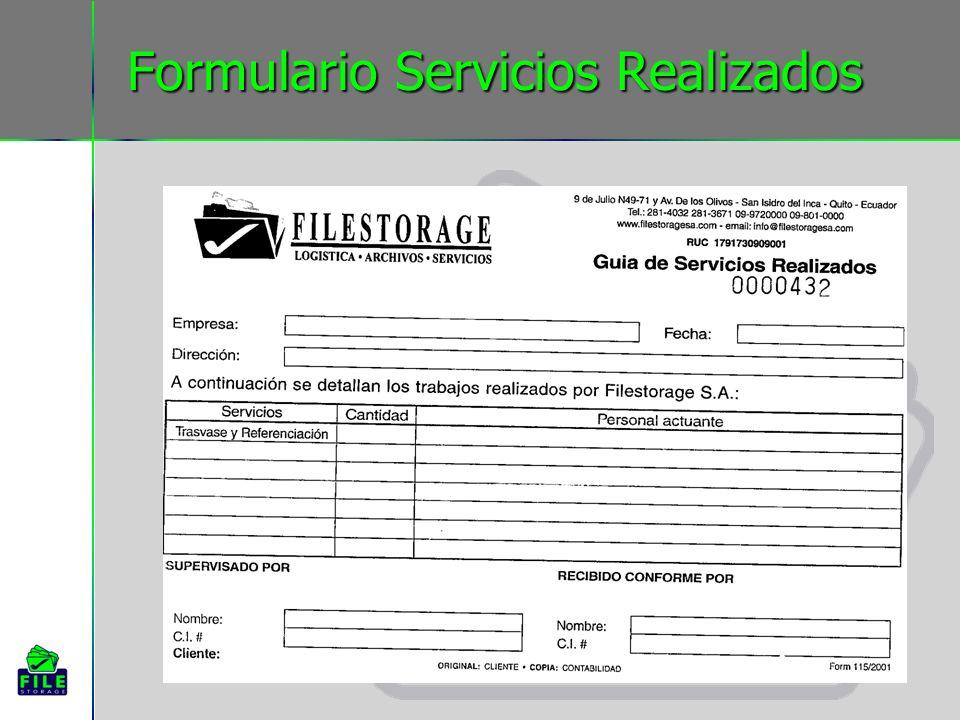 Formulario Servicios Realizados