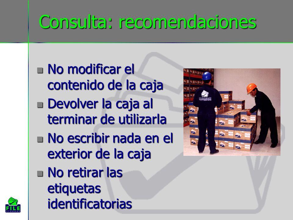 Consulta: recomendaciones