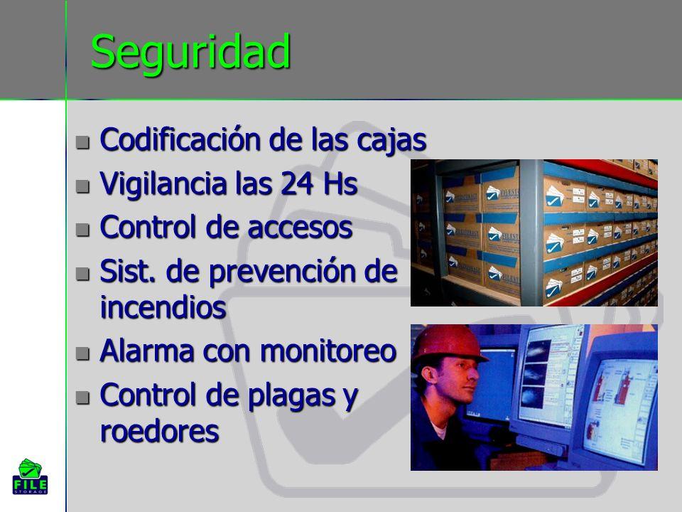Seguridad Codificación de las cajas Vigilancia las 24 Hs