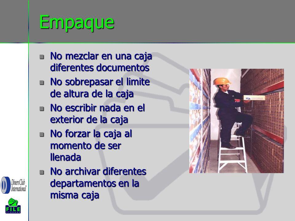 Empaque No mezclar en una caja diferentes documentos
