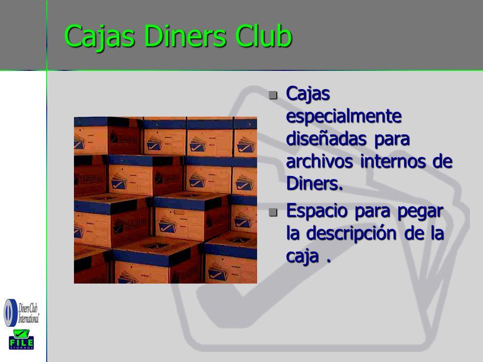 Cajas Diners Club Cajas especialmente diseñadas para archivos internos de Diners.