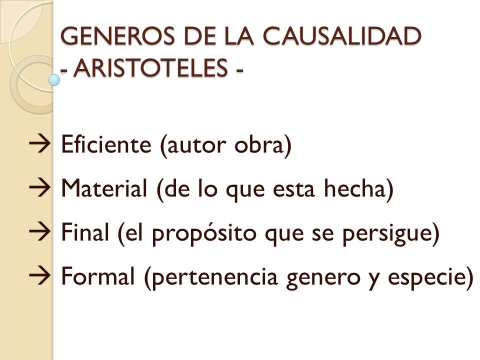 GENEROS DE LA CAUSALIDAD - ARISTOTELES -
