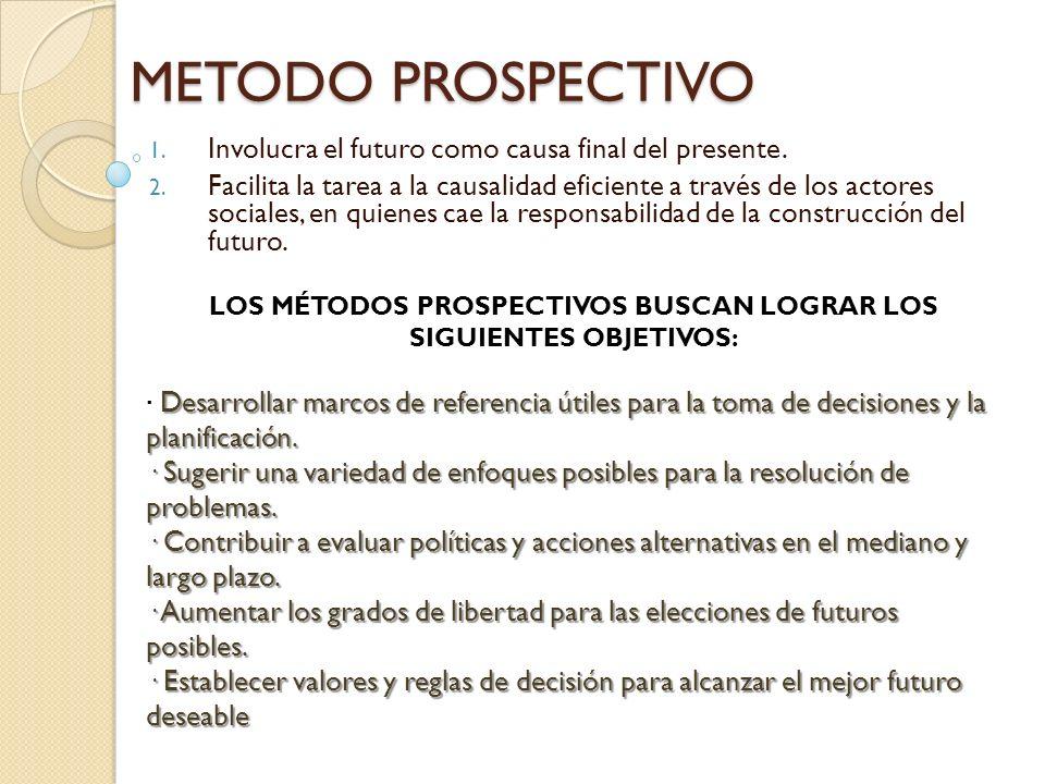 LOS MÉTODOS PROSPECTIVOS BUSCAN LOGRAR LOS SIGUIENTES OBJETIVOS: