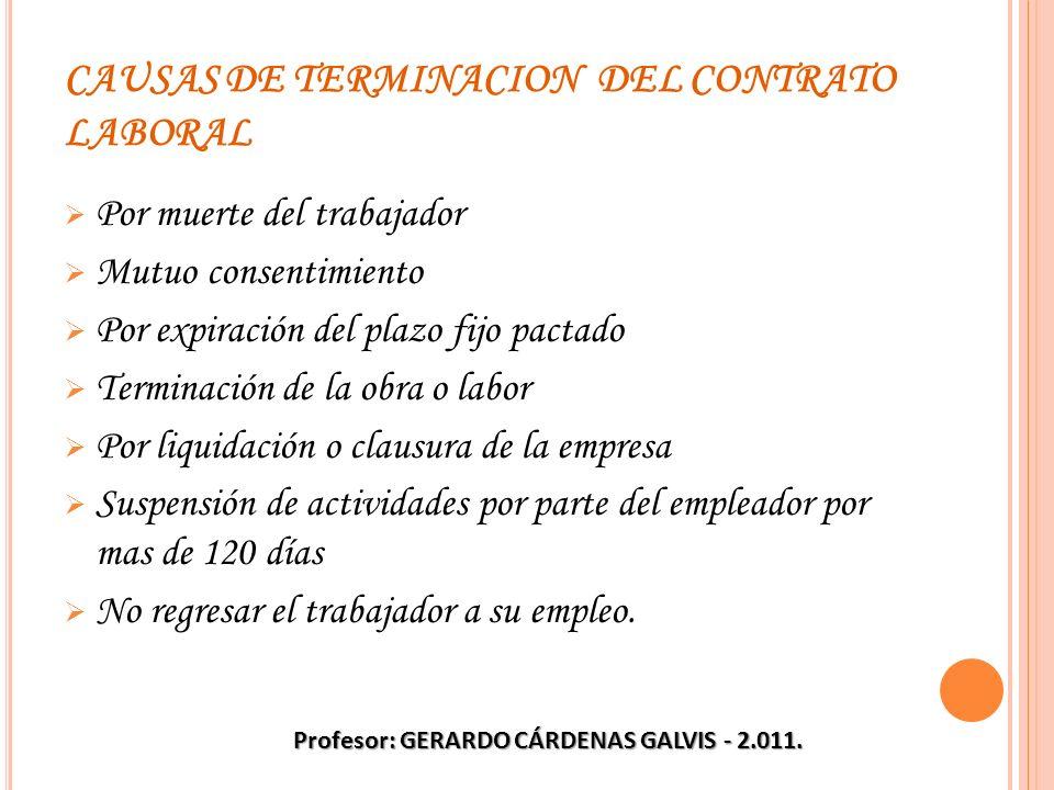 CAUSAS DE TERMINACION DEL CONTRATO LABORAL