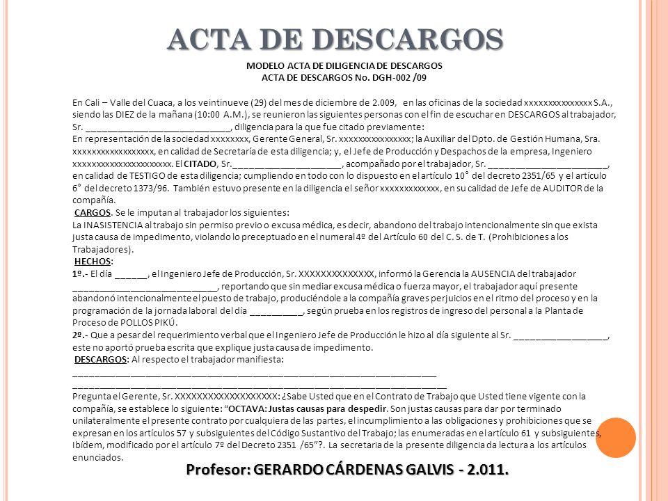 Profesor: GERARDO CÁRDENAS GALVIS - 2.011.