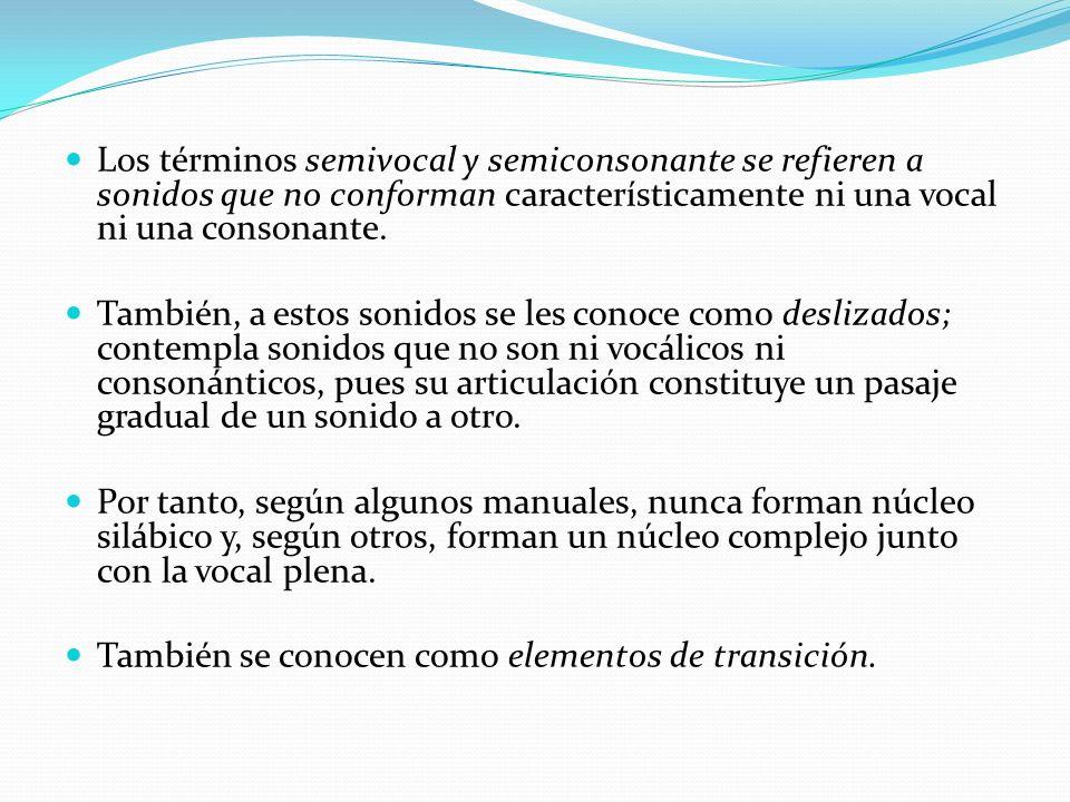 Los términos semivocal y semiconsonante se refieren a sonidos que no conforman característicamente ni una vocal ni una consonante.