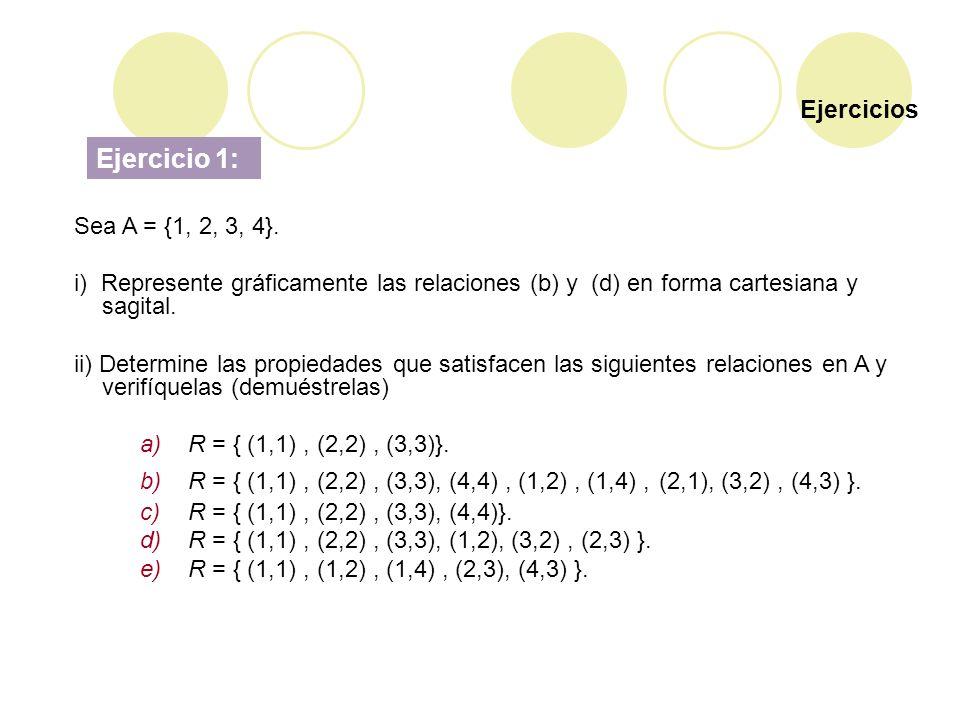 Ejercicio 1: Ejercicios Sea A = {1, 2, 3, 4}.